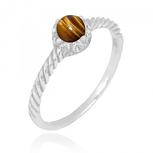 [NRB7355-BRTE] Round Shape Brown Tiger Eye Solitaire Ring