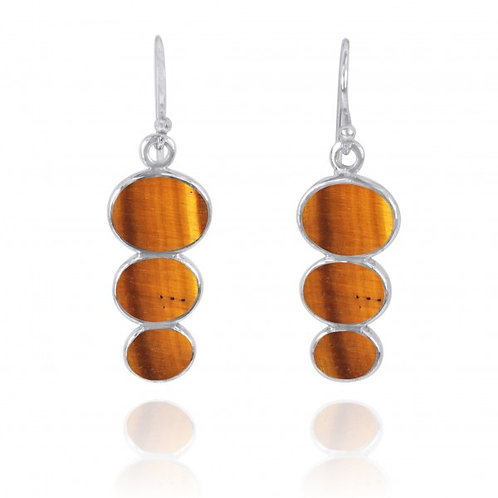[NEA0331-BRTE] Triple Oval Brown Tiger Eye Sterling Silver Drop Earrings