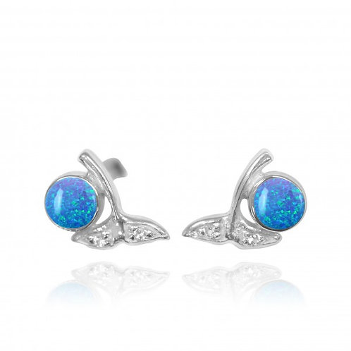 [NES3707-BLOP-WHT] Sterling Silver Whale Tail Stud Earrings with Round Blue Opal