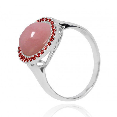 [NRB6611-PPKOP-GAR] Oval Shape Peru Pink Opal Cocktail Ring