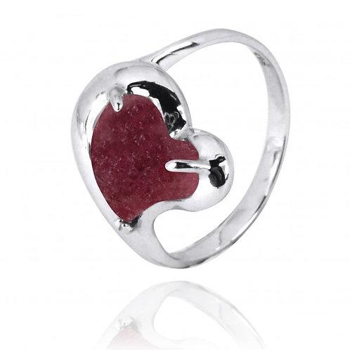 [NRB6639-RDN] Heart Shape Rhodonite Cocktail Ring