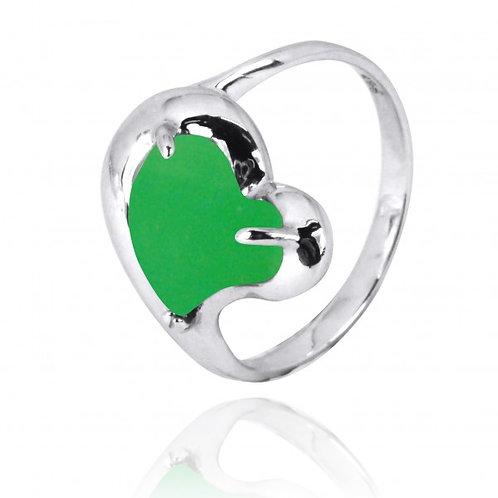 [NRB6639-CRP] Heart Shape Chrysoprase Cocktail Ring