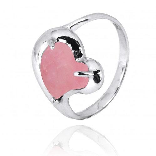 [NRB6639-PPKOP] Heart Shape Peru Pink Opal Cocktail Ring