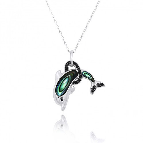 [NP11315-ABL-BKSP] Sterling Silver Dolphin Pendant with Abalon shell and Black S