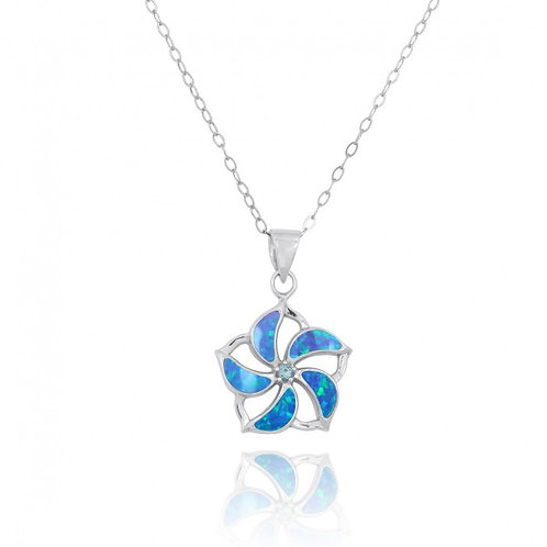 [NP11324-BLOP-SWBLT] Hibiscus Shaped Sterling Silver Pendant with Blue Opal Star