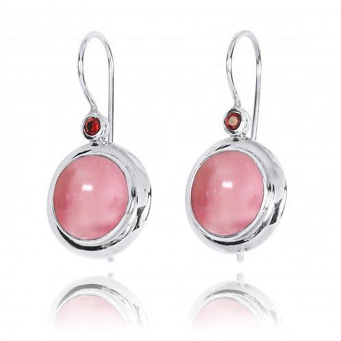 [NEA1824-PPKOP-GAR] Round Shape Peru pink opal Lever Back Earrings
