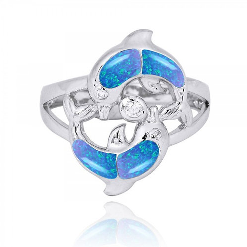 [NRB7223-BLOP-WHCZ] Playing Sterling Silver Dolphins Ring with Blue Opal and Whi