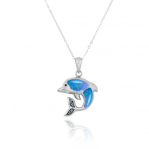 [NP10495-BLOP-WHCZ] Sterling Silver Dolphin Pendant with Blue Opal and White CZ