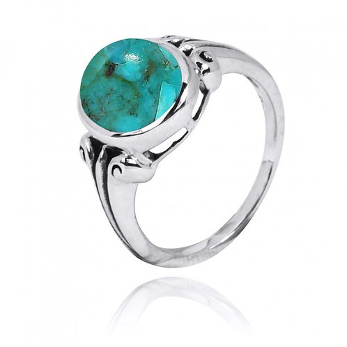 [NRB3631-GRTQ] Oval Shape Compressed Turquoise Gemstone Ring