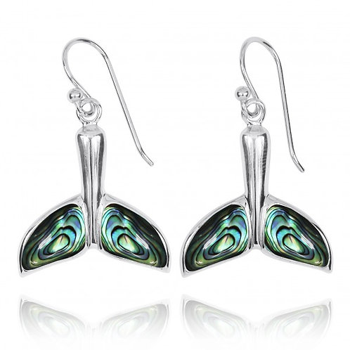 [NEA3316-ABL] Sterling Silver Whale Tale with Abalon shell French Wire Earrings