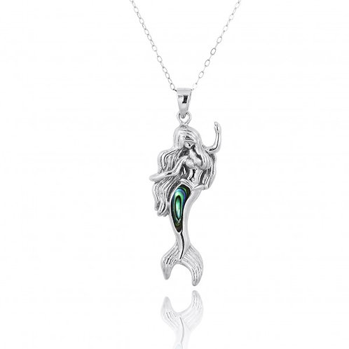 [NP10922-ABL] Sterling Silver Mermaid Pendant with Abalon shell