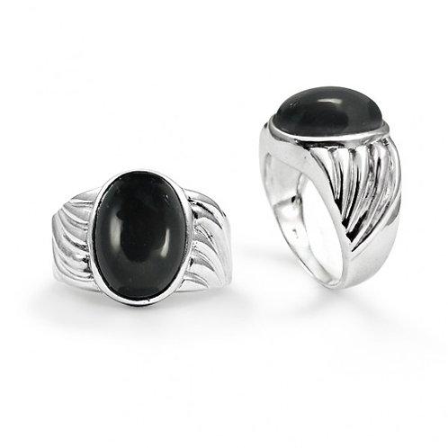 [NRB6704-BKON] Heart Shape Black Onyx Cocktail Ring