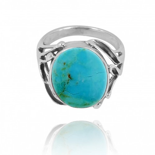 [NRB7477-GRTQ] Oval Shape Compressed Turquoise Cocktail, Statement Ring