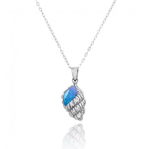 [NP10745-BLOP-WHCZ] Conch Shell with Blue Opal and White CZ Sterling Silver Pend