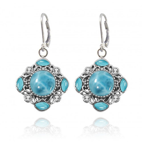 [NEA3085-LAR-WTH] Round Shape Larimar Cuffs Earrings