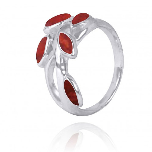 [NRB2020-SPC] Marquise Shape Sponge Coral Cocktail, Gemstone Ring