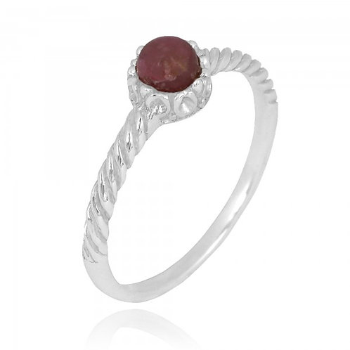 [NRB7355-RDN] Round Shape Rhodonite Solitaire Ring