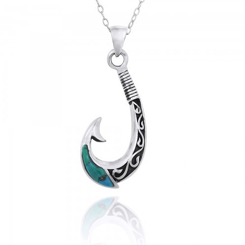 [NP12106-CTQ] Maori Fishhook Pendant with Compressed Turquoise