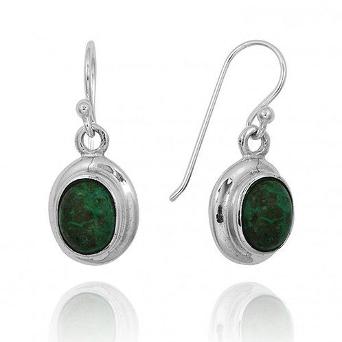 [NEA3272-CRY] Oval Shape Chrysocolla Drop Earrings