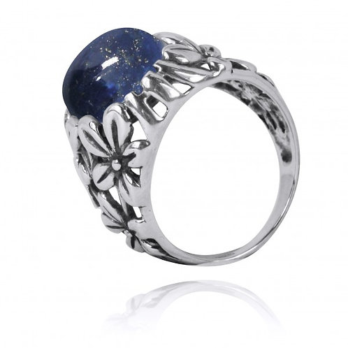 [NRB6067-LAP] Oxidized Silver Floral Ring with Lapis