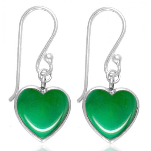 [NEA0242-CRP] Heart Shape Chrysoprase Drop Earrings