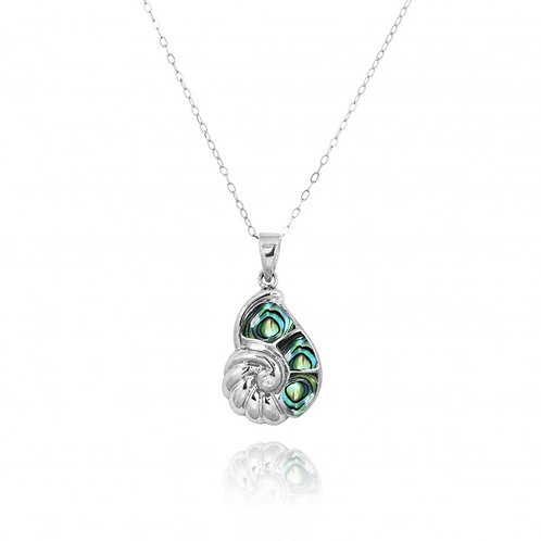 [NP10920-ABL-WHCZ] Sterling Silver Seashell with Abalon shell and White CZ Penda