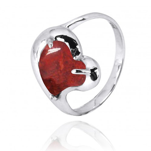 [NRB6639-SPC] Heart Shape Sponge Coral Cocktail Ring