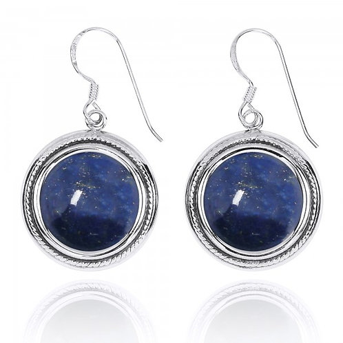 [NEA2714-LAP] Round Shape Lapis French Wire Earrings