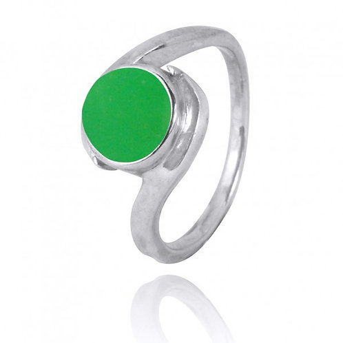 [NRB1002-CRP] Round Shape Chrysoprase Gemstone Ring