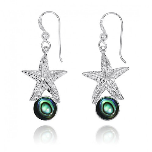 [NEA3244-ABL] Sterling Silver Starfish French Wire Earrings with Round Abalon sh