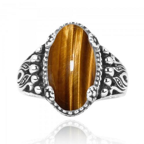 [NRB5215-BRTE] Oval Shape Brown Tiger Eye Gemstone Ring