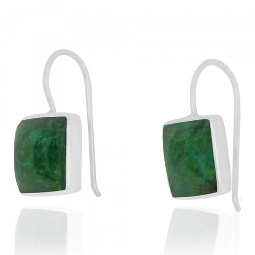 [NEA2411-CRY] Cushion Shape Chrysocolla Drop Earrings