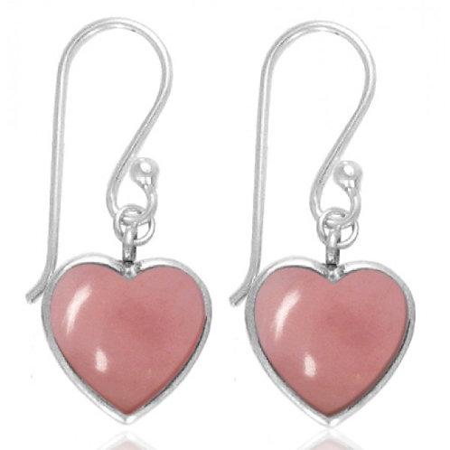 [NEA0242-PPKOP] Heart Shape Peru Pink Opal Drop Earrings