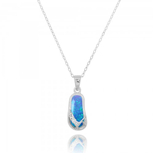 [NP10919-BLOP-CRS] Sterling Silver Sandals with Blue Opal and Crystal Pendant