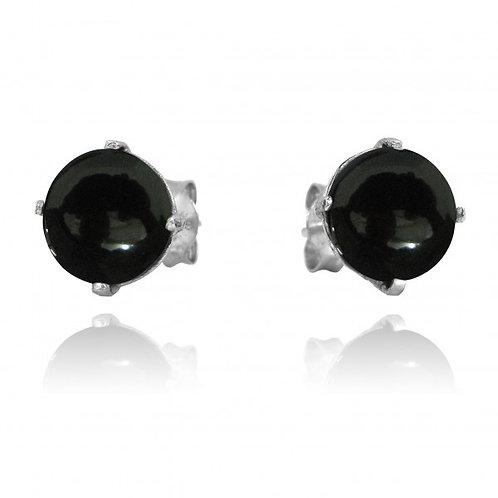 [NES3174-BKON] Round Shape Black Onyx Stud Earrings