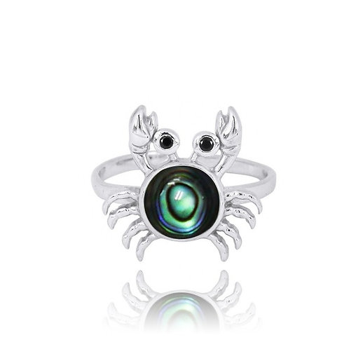 [NRB7822-ABL-BKSP] Sterling Silver Crab Ring with Abalon shell and Black Spinel