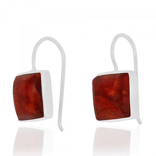 [NEA2411-SPC] Cushion Shape Sponge Coral Drop Earrings