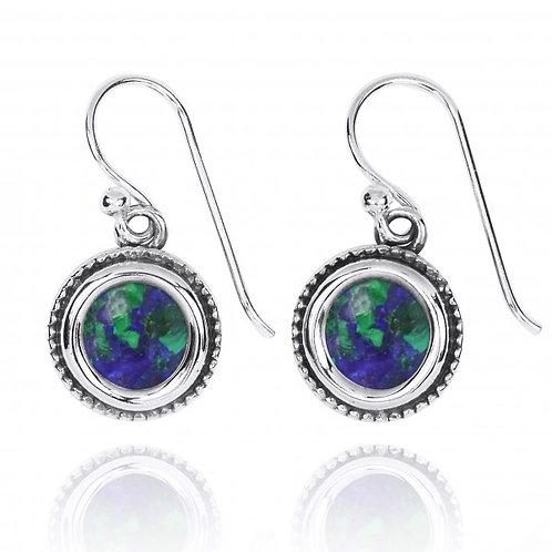 [NEA2710-AZM] Round Shape Azurite Malachite Drop Earrings