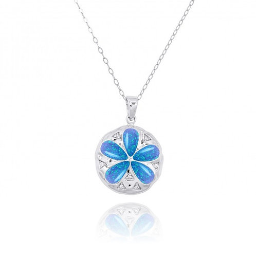 [NP11035-BLOP-WHCZ] Sterling Silver Sand Dollar with Blue Opal and CZ Pendant