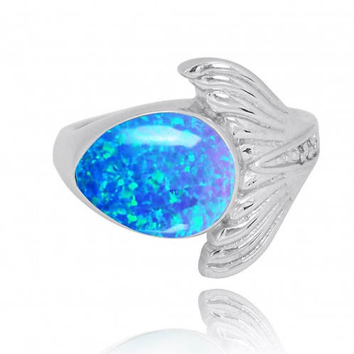 [NRB8368-BLOP-WHCZ] Sterling Silver Whale Tail Ring with Blue Opal and White CZ