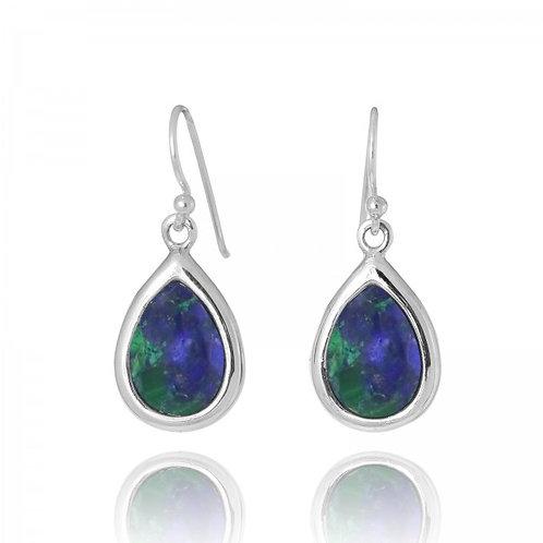 [NEA3266-AZM] Raindrop Shape Azurite Malachite Drop Earrings