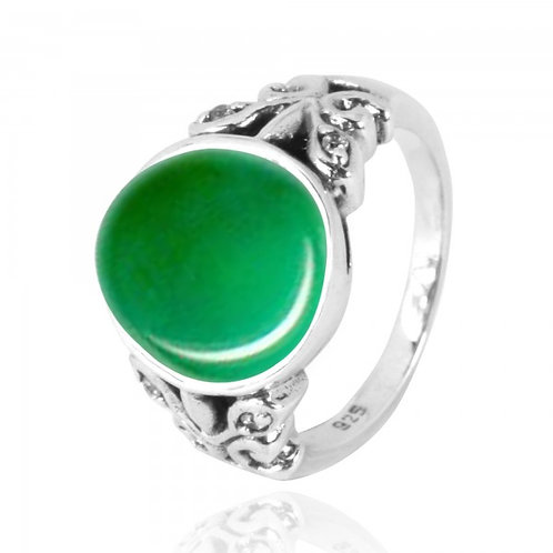 [NRB5096-CRP-WHCZ] Oval Chrysoprase Oxidized Silver Ring with Butterflies and Wh