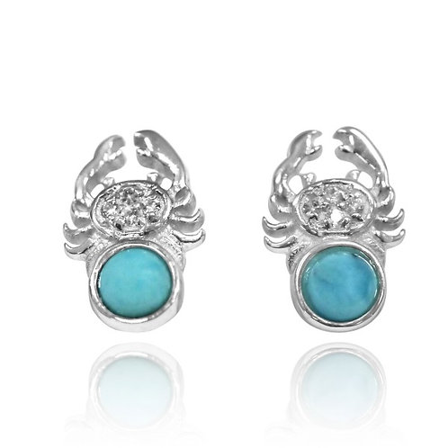 [NES3718-LAR-WHT] Sterling Silver Crab Stud Earrings with Round Larimar and Whit