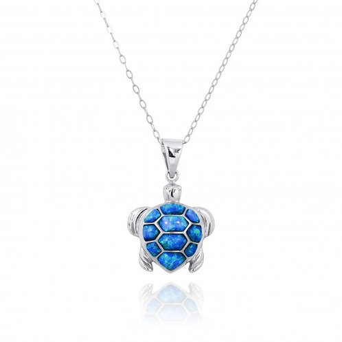 [NP11022-BLOP] Sterling Silver Turtle with Blue Opal Pendant
