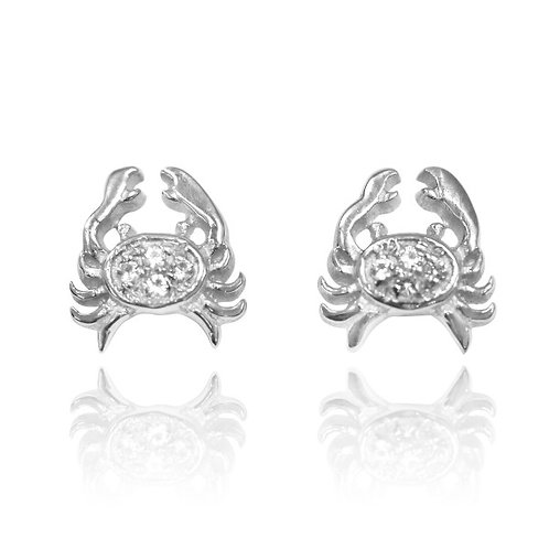 [NES3710-WHT] Sterling Silver Crab Stud Earrings with White Topaz