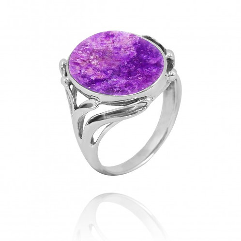 [NRB7477-SUG] Oval Shape Sugilite Cocktail, Statement Ring