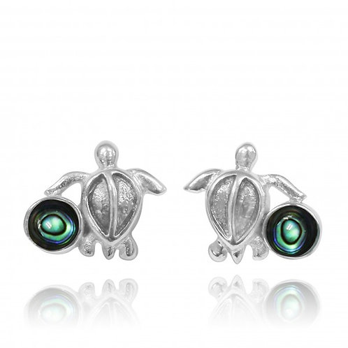 [NES3705-ABL] Sterling Silver Turtle Stud Earrings with Round Abalon shell