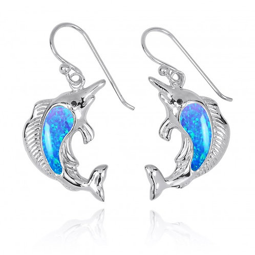 [NEA3248-BLOP-BKCZ] Sterling Silver Swordfish with Blue Opal and Black CZ French