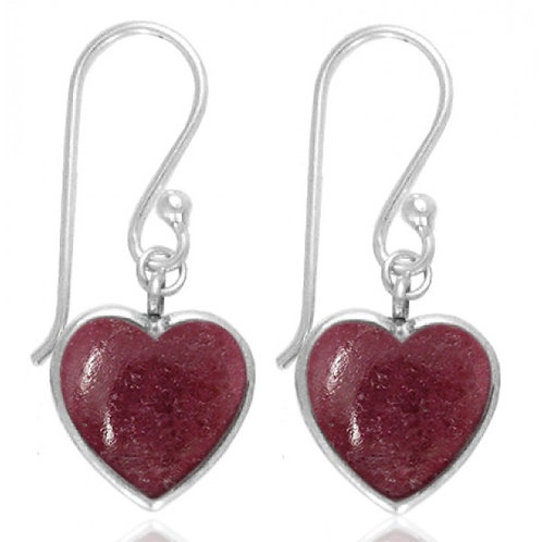 [NEA0242-RDN] Heart Shape Rhodonite Drop Earrings
