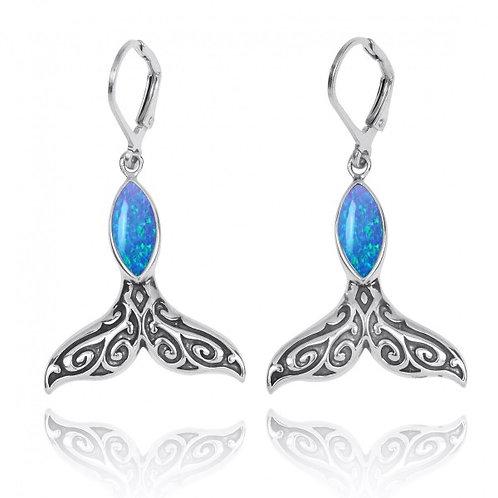 [NEA3323-BLOP] Sterling Silver Whale Tale with Blue Opal Lever Back Earrings